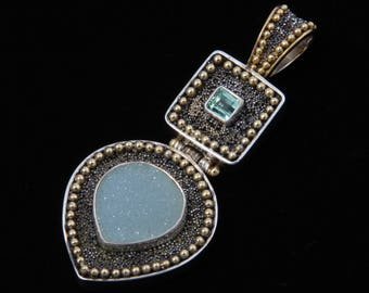Druzy 21 - Pendant - Sterling Silver and 24K Gold plating - Green Tourmaline and Druzy Agate - Valentines - Valentines Day - Partner Gift -