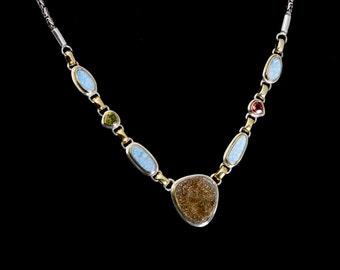 Gaia - Necklace - Sterling Silver and 24K Gold plating - Australian Opal,Peridot,Garnet & Pyrite