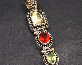 Starlight - Pendant - Sterling Silver and 24K Gold plating - Citrine - Mexican Opal - Peridot