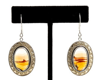 Piranha - Earrings - Sterling Silver and 24K Gold plating - Piranha Agate