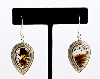 Montana Moss 3 - Earrings - Sterling Silver and 24K Gold plating - Montana Moss Agate