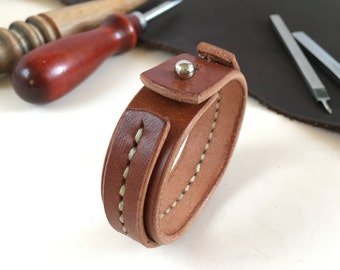 Leather cuff stitched Light brown leather bracelet Mens leather cuff Tan leather band Men jewelry Gift for men Hand stitched leather band