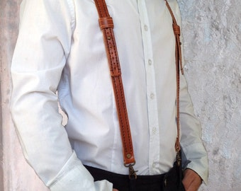 Mens leather suspenders personalized Hand stitched leather suspenders Groomsmen suspenders for wedding Brown leather mens braces for grooms
