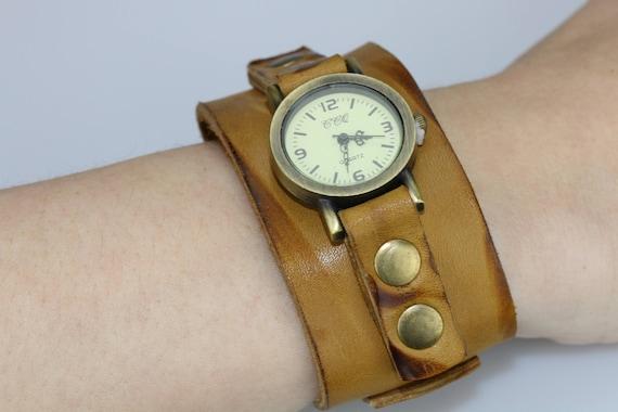 precio bajo sitio de buena reputación amplia selección Reloj brazalete de cuero beige apenado cuero muñeca reloj mujer Vintage  cuero reloj luz marrón regalo de cumpleaños para su reloj de pulsera