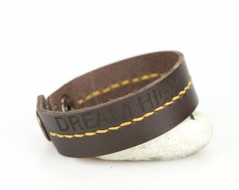 Dark brown leather cuff bracelet Leather wrist bracelet Hand stitched Brown leather wrist band Simple cuff bracelet Unisex leather cuff