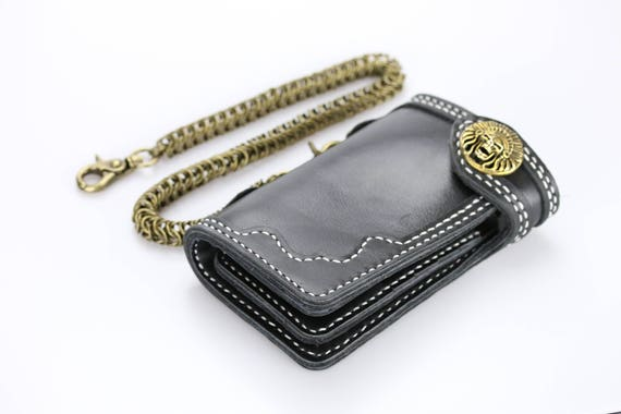 """Black Leather Biker Trucker Wallet 6/"""" x 3.5/"""" With 12/"""" Chain MADE IN USA"""