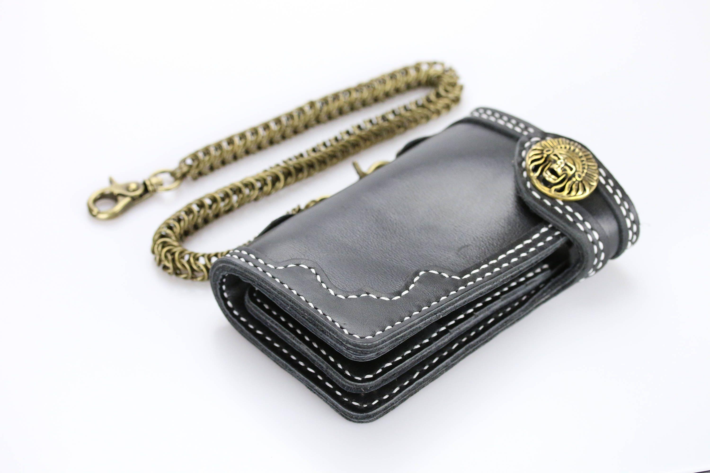 Skull Concho biflod Long Vintage Biker portefeuille sac à main avec Brass Gold Key Chain