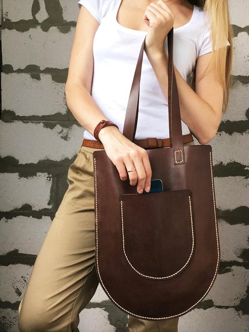 Flat leather bag Shopper tote Market bag leather Leather image 0