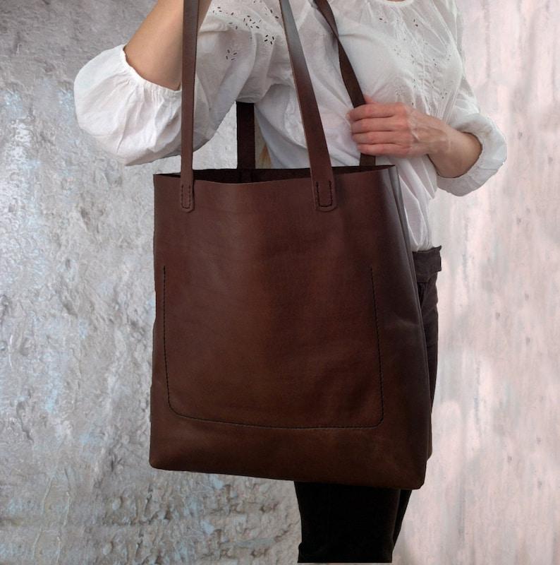 1d40004b20b51 Von Hand nähen Leder Tasche große einkaufen Tote Naturleder