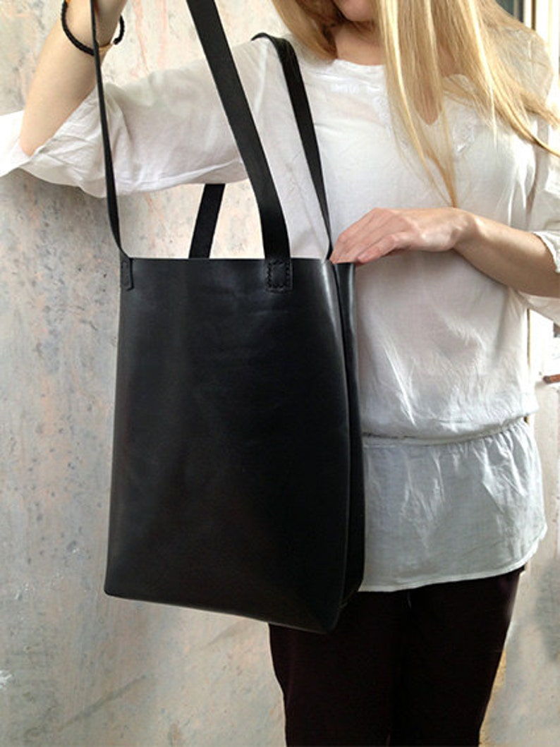 87bd42f1e53e Black leather tote bag Simple leather shopper Leather tote bag | Etsy