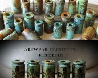 Primitive Art Shells, Bead Caps, Art Beads, Bead Caps, Tassel Bead Caps, Rustic Findings, ArtWear Elements