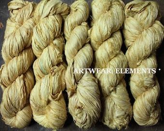 Pure Sari Silk, Lemonade, Sold Per 100g Skein, Sari Silk, Fair Trade, Textile, Ribbon, Yarn, Silk, Lemon Sari silk, ArtWear Elements, 214