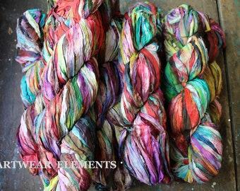 Pure Sari Silk, Painters Pallet 2, Sold Per Skein, Recycled Sari Silk, Fair Trade, Fabric, Ribbon, Yarn, Silk, ArtWear Elements, 301b