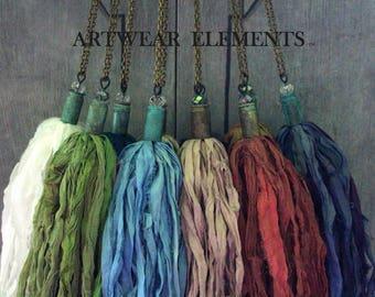 WHOLESALE CUSTOM Handmade Sari Silk Tassels, Tassel Necklaces, Tassels, Shabby Chic Tassel Necklaces, Vintage Tassels, Artwear Elements