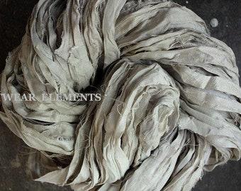 Vintage Off White Mix 2, Three And 5 Yds, Undyed Recycled Sari Silk, Silk Ribbon, Fair Trade, Fiber, Textile Supplies, Artwear Elements, 14b