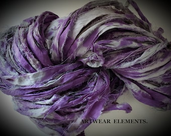 NEW! Hand Dyed Sari Silk, Gray Berry 1, One Of A Kind Limited, 5 Yards,  Art Sari Silk Hand Dyed By ArtWear Elements®