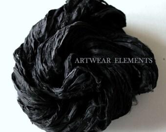 Sari Silk, Art Deco Black, 3 And 5 Yds, Recycled Sari Silk, Fair Trade, Textile, Art Yarn, Black Ribbon, Ribbon, Silk, Artwear Elements, #61