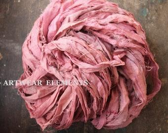 Pure Sari Silk, Pink Couture Blush, 5 Yds, Recycled Sari Silk, Fair Trade, Fabric, Ribbon, Yarn, Silk, ArtWear Elements, 304