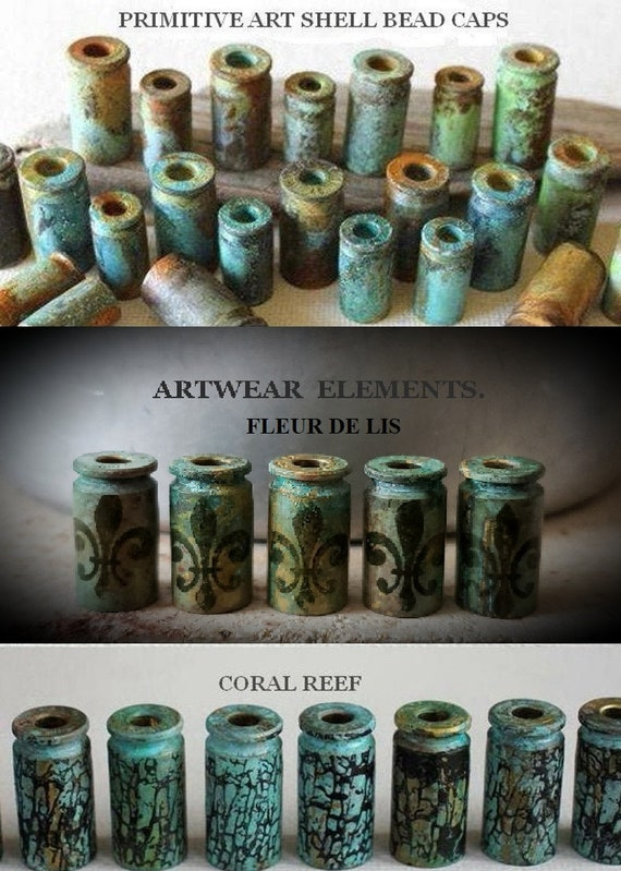 9mm Primitive Findings 40 Art Beads ArtWear Elements .45 Tassel Bead Caps Vintage Fields Primitive Art Shells Primitive Bead Caps