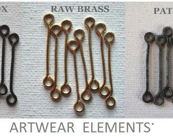 Handmade Connector Links, Brass, copper, Patinated, Oxidized or Raw, MADE TO ORDER, Jewelry Findings, Wires, Chain Links, ArtWear Elements