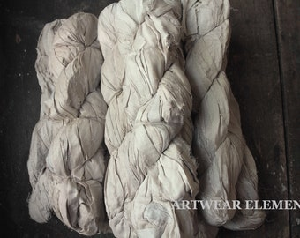 Vintage Off White 2, Sold Per Skein, Undyed Recycled Sari Silk, Silk Ribbon, Fair Trade, Fiber, Textile Supplies, Artwear Elements, 14c