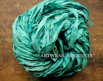 Pure Sari Silk, Aquamarine, Per 5 Yards, Recycled Sari Silk, Fair Trade, Fabric, Ribbon, Yarn, Silk, ArtWear Elements, 303