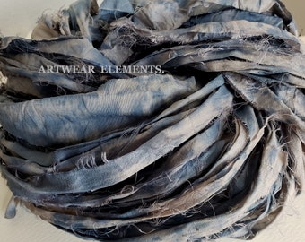 NEW! Hand Dyed Sari Silk, Blue Gray Splatter, One Of A Kind Limited, 5 Yards,  Art Sari Silk Hand Dyed By ArtWear Elements®