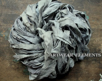 Pure Sari Silk, Medium Silver Gray Goose, 3 & 5 Yards, Recycled Sari Silk, Fair Trade, Fabric, Ribbon, Yarn, Silk, ArtWear Elements, 302