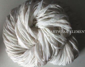 White Chiffon Sari Silk, Fair Trade Sari, Sold Per Skein Silk Textile, Textile Fiber, Ribbon, Yarn, Bracelet Ribbon, ArtWear Elements 55c