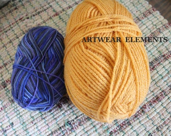 DESTASH Yarn Lot Of 2, Multiclored Blue Yarn, Golden Yellow Yarn, Knitting Yarn, Crochet Yarn, Crochet Supplies, Yarn, ArtWear Elements