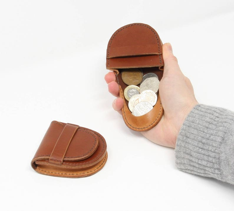 with coin catcher element on the flap hand-stitched Small leather coin pouch