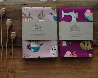 Purple Duo Organic Cotton Handkerchief  Pocket Square  Hankie  Terrarium  Cats  Kerchief  Ladies  Hanky  Eco Friendly  Zero Waste