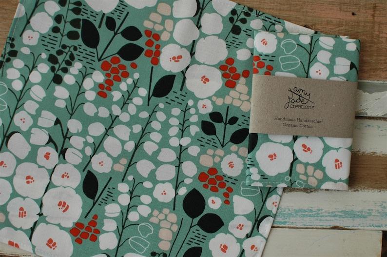 Flower Stockbridge Organic Handkerchief  Pocket Square  Green Hankie  Gift  Floral  Hanky  Eco Friendly  Zero Waste