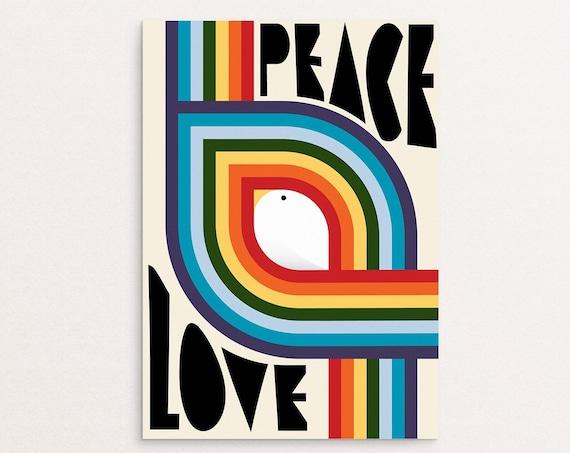 Peace & Love - Retro Rainbow Graphic Design Poster