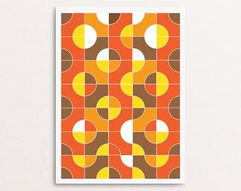 Sink - Retro Art Print 1960s 1970s style multicolor poster mod circles brown yellow orange
