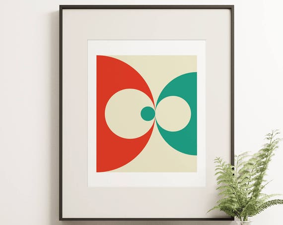 MCM14 - Scandinavian Inspired Geometric Midcentury Style Abstract Graphic Print featuring Circles in Orange and Green