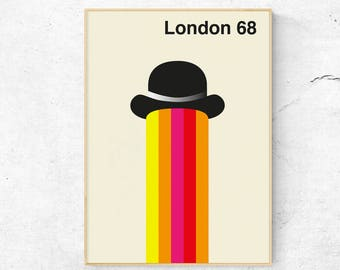 London 68 - Mid Century Modern Art Poster inspired by Bo Lundberg