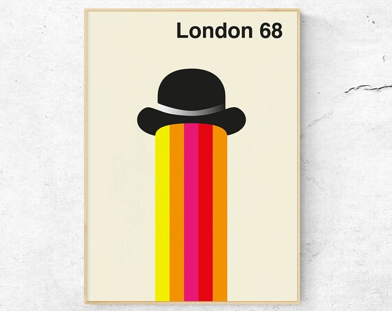 London 68 - Mid Century Modern Art Poster