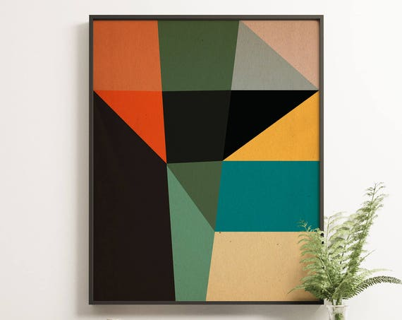MCM09 - Abstract Mid Century Colours Geometric Style Graphic Design Poster