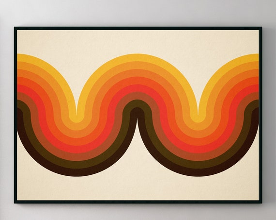 Beyond the Curve - Geometric Scandinavian Style Art Print for Interior Decor very 60s and 70s in vibe