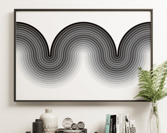 Apex Mono - Mod Curve Retro Vintage Inspired Op Art Print 60s 70s style monochromatic modernist mid century modern space age