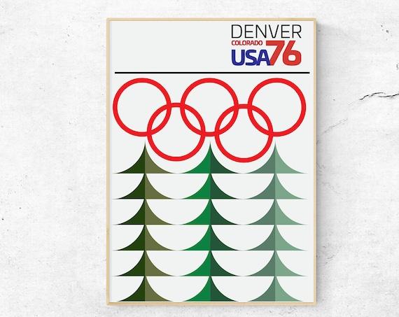Denver 76 - Winter Olympics Graphic Design Geometric Art Print