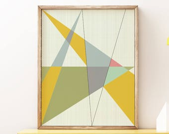 MCM01 - Mid Century Modern Geometric Triangles Graphic Design Art Print Poster