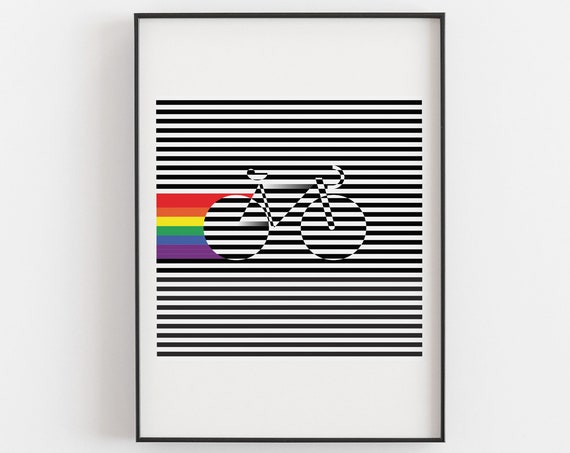 Ride With Pride - Optical Pop Art Cycling Poster