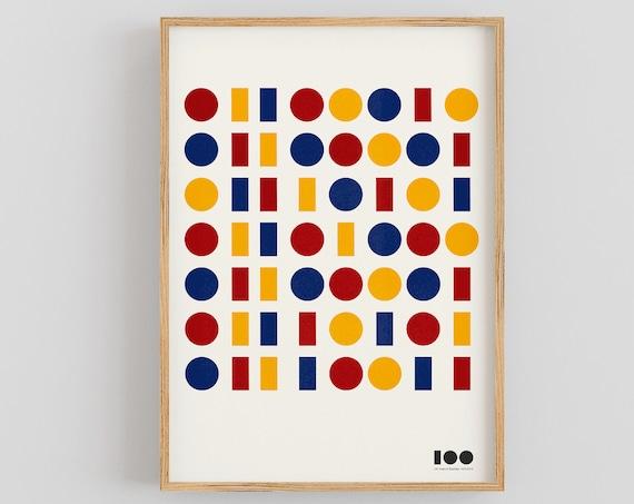 Bauhaus 100 - Binary Code Design Print - Primary Colours Version