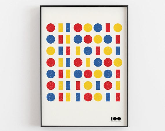 Bauhaus 100 - Framed Binary Code Design Print - Primary Colours Version