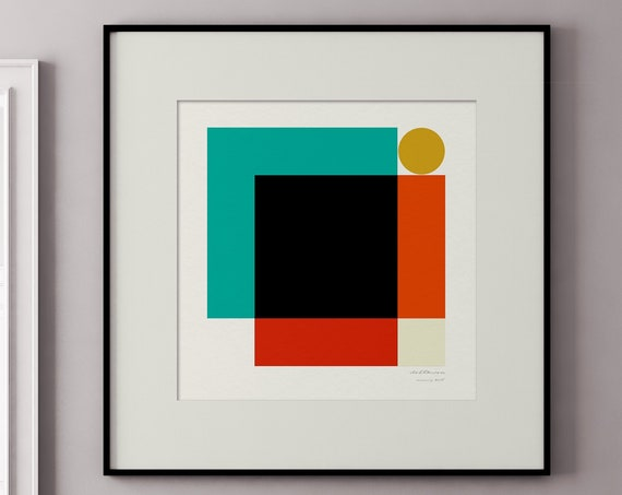 Morning - One of a  Series of MCM Style Geometric Square Art Prints