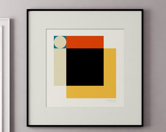 Moon - Part of a Series of 1950s Style Geometric Square Art Prints