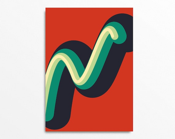 Worm Graphic Art Print in retro colours - Op Art, Mid Century Modern Style, Abstract and Contemporary