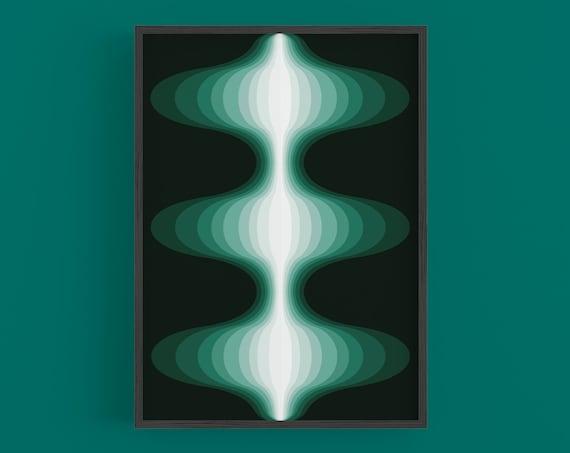 Nebula - Green Retro Art Print